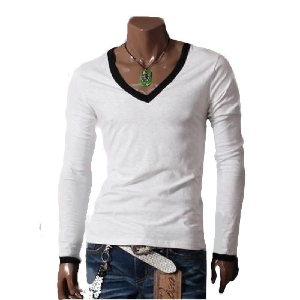 15d72c7138 Camiseta Masculina Gola V Branca Com Preto