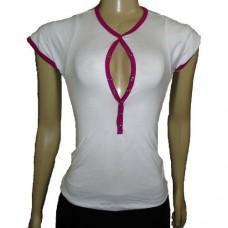 Camiseta Feminina Manga Curta Com Botão