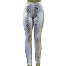 Calça Legging Cirre Estampada Branca com Dourado