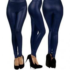 Calça Legging Cirre Imita Couro Azul Bic Com Brilho