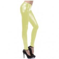 Calça Legging Cirre Imita Couro Amarelo