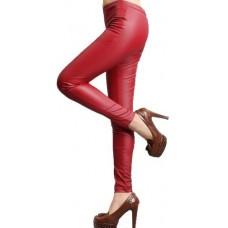 Calça Legging Cirre Imita Couro Vermelha Fosco