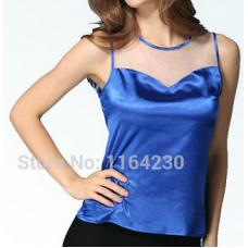 Camiseta Regata Feminina cetim detalhe em tule