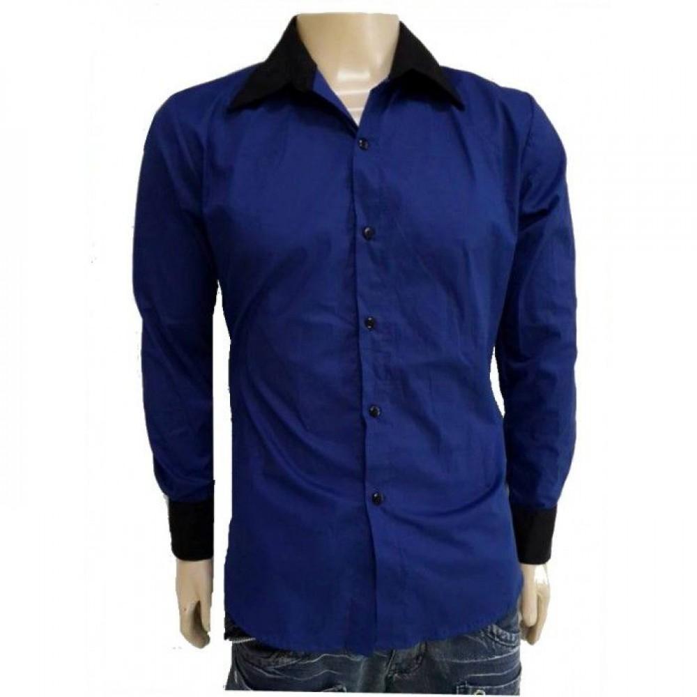 58d257eb79 Camisa Social Masculina Slim Fit Azul Com Preto