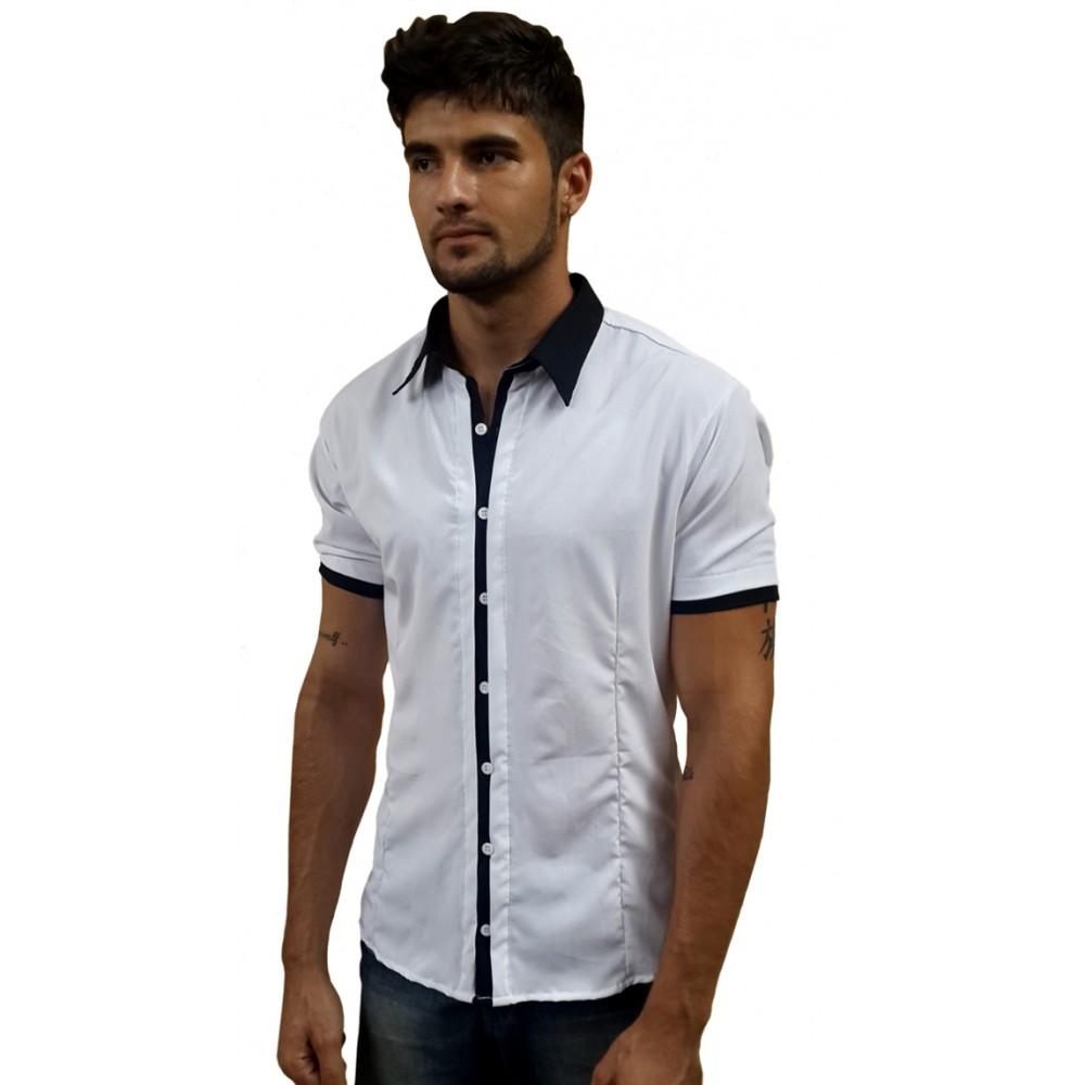 c98e38545 Camisa Social Masculina Slim Fit Manga Curta Branca