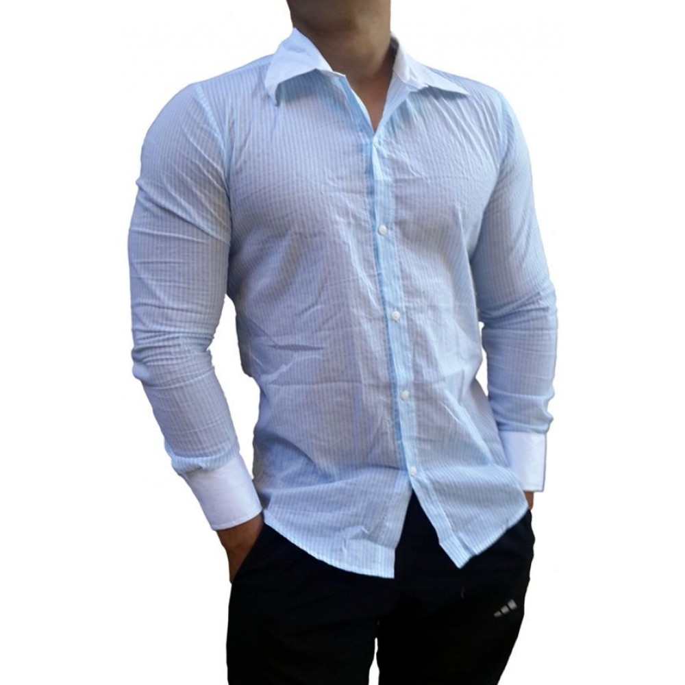 Camisa Social Masculina Slim Fit Listrada Azul d7dbd21afae