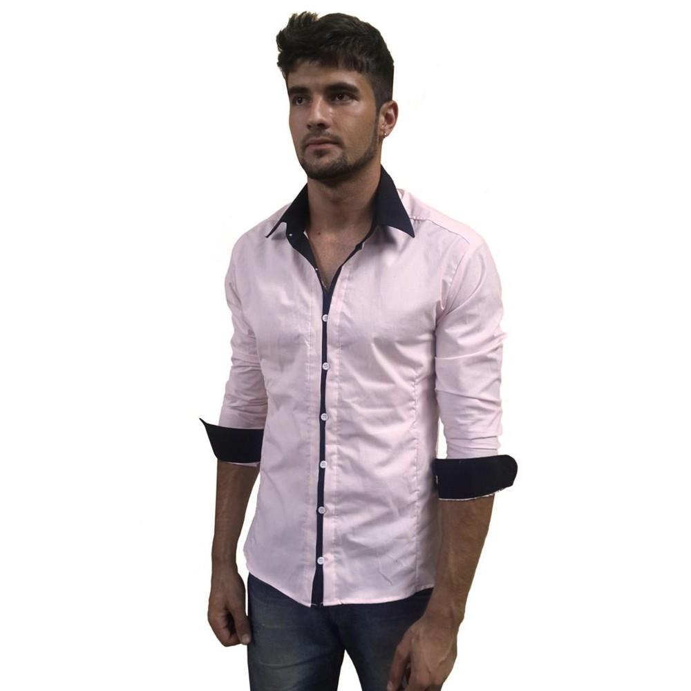Camisa Social Masculina Slim Fit Rosa Com Preto 481ab8feba63d