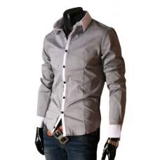 Camisa Social Masculina Slim Fit Cinza Com Branco