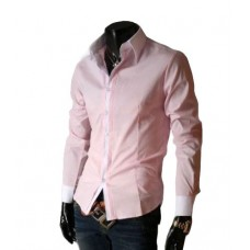 Camisa Social Masculina Slim Fit Rosa Com Branco