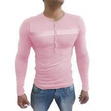 Camiseta Masculina Com Botão e Detalhe Manga Longa