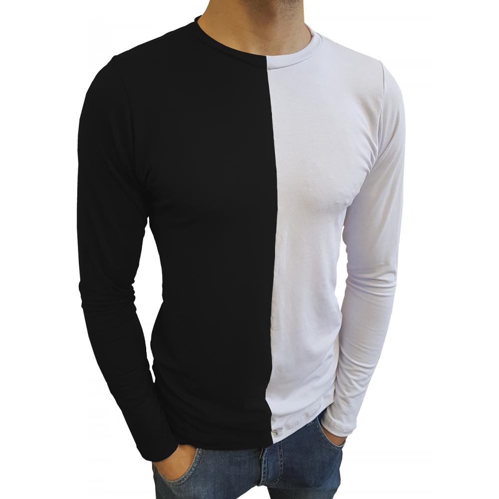 c59700e0b19ae Compre Camiseta Masculina Gola Careca Duas Cores Manga Longa