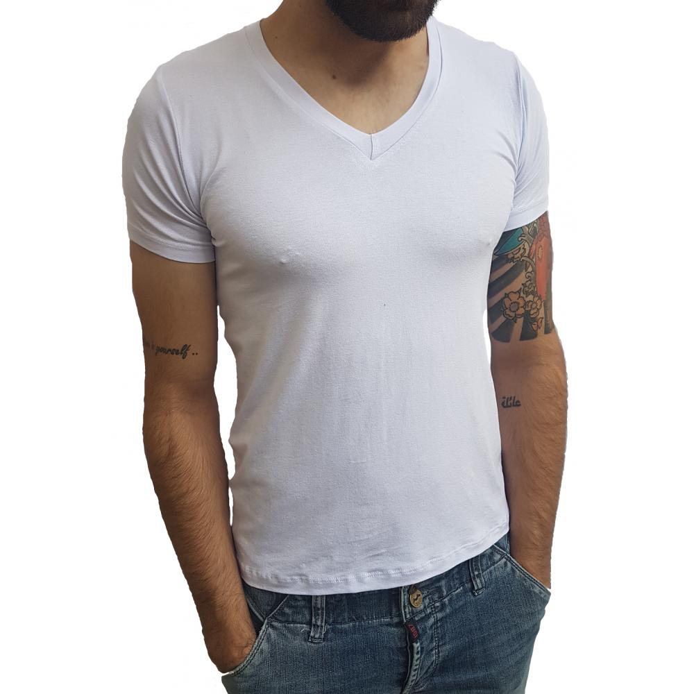 dac72bb83 Camiseta Masculina Gola V Média Manga Curta ...