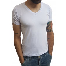 Camiseta Masculina Gola V Média Manga Curta