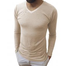 Camiseta Masculina Gola V Médio Manga Longa
