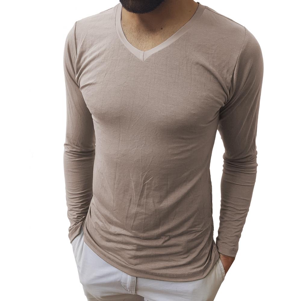 38ee0fabec ... Camiseta Masculina Gola V Médio Manga Longa ...