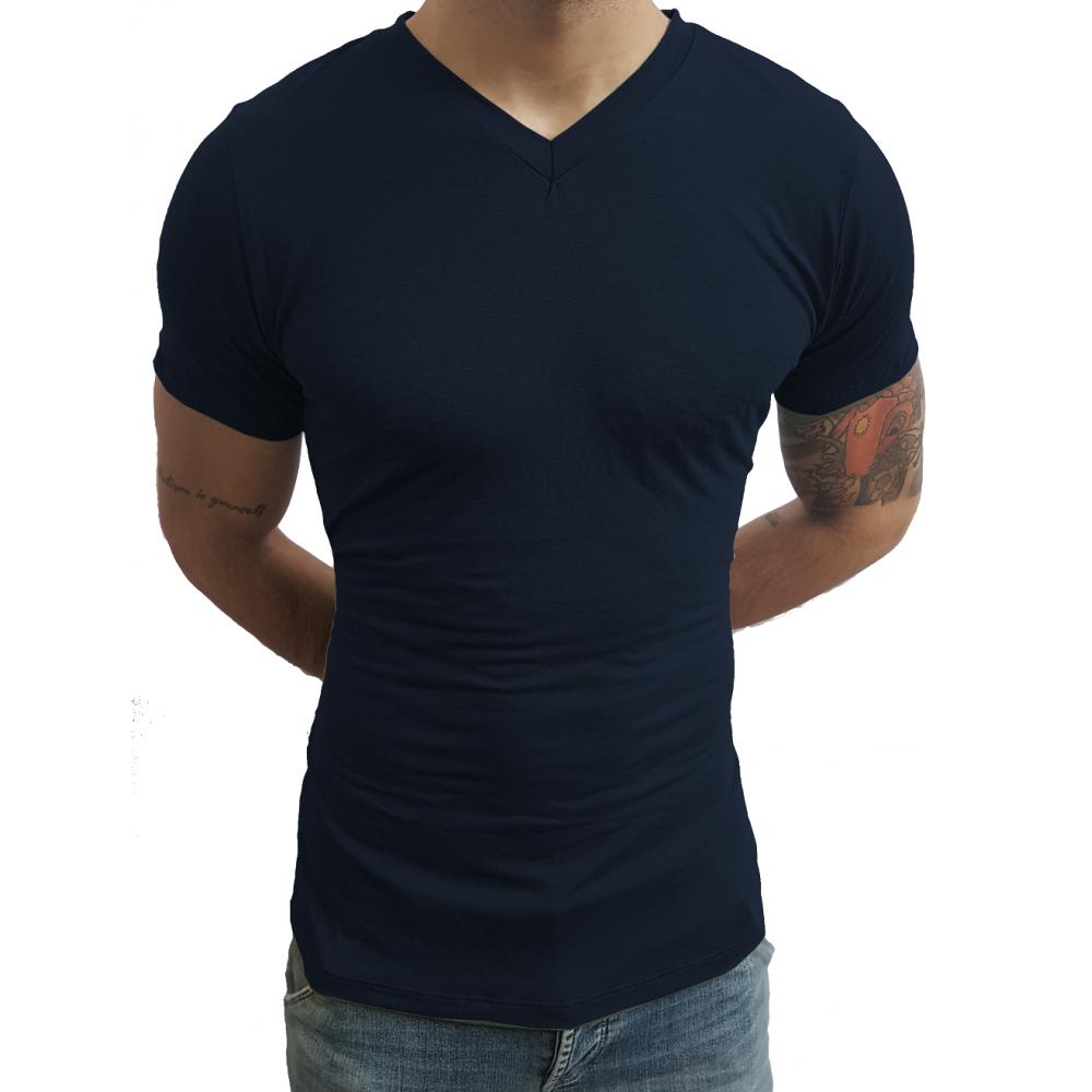 9956e557f ... Camiseta Masculina Gola V Rasinha Manga Curta ...