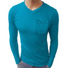 Camiseta Masculina Gola V com Bolso Manga Longa