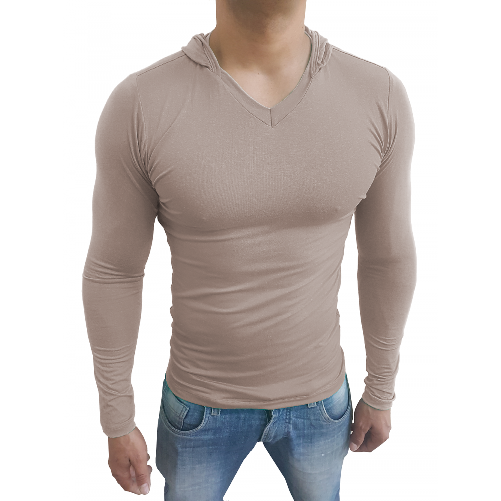 496e89e36 Camiseta Masculina com Capuz Gola V Manga Longa ...