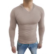 Camiseta Masculina com Capuz Gola V Manga Longa