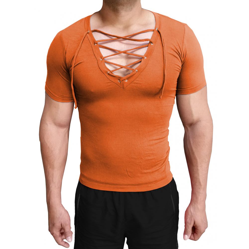 c202ca987f ... Camiseta Masculina Gola V Funda Com Cordão Manga Curta ...