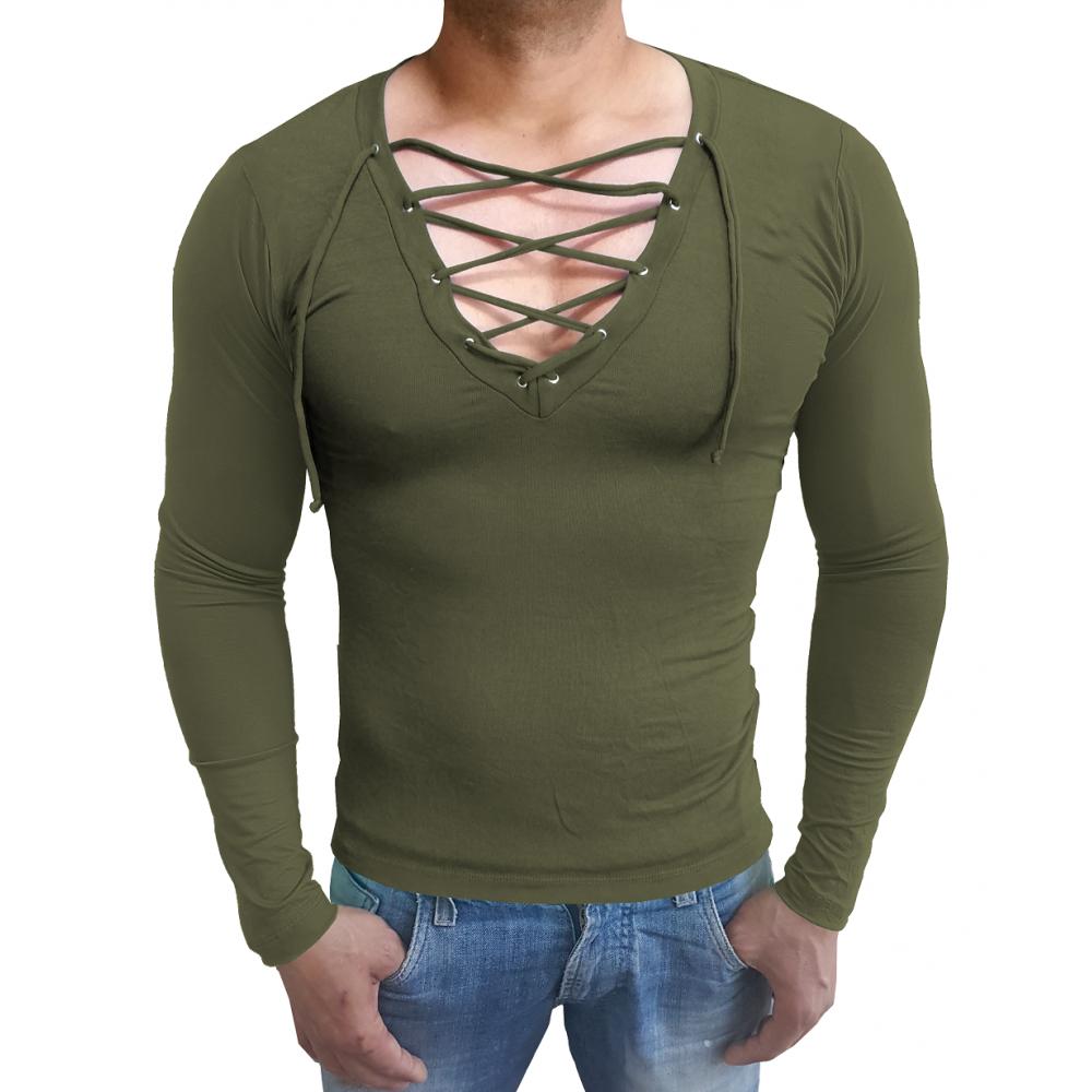 d7fe7e4708 ... Camiseta Masculina Gola V Funda Com Cordão Manga Longa ...