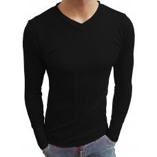 Camiseta Masculina Gola V Rasa Manga Longa