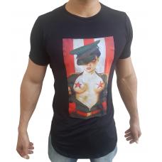 Camiseta Oversized Longline Estampa Mulher