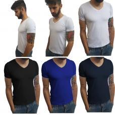 Kit com 4 Camisetas Gola V | 10% OFF + Frete Grátis
