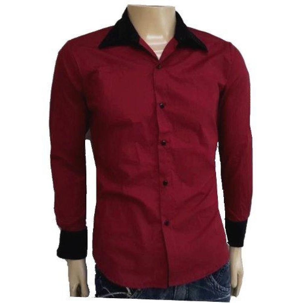 Camisa Social Slim Fit Manga Longa Vermelha Com Preto 36b44560aa2